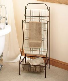 This Floor Standing Towel Rack Is A No Hle Storage Solution For Any Bathroom Avoid The Permanent Alterations To Walls Or Doors Needed Most