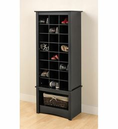 Do not hide your favorite shoes at the back of the closet! Our Tall Shoe Cubbie Cabinet is a perfect fit for any foyer mudroom entryway or bedroom. Get your shoes up off the floor and neatly organized with the functionality of this Tall Shoe Cubbie Cabinet. This cabinet has 24 spacious cubbies that can fit men's size 1