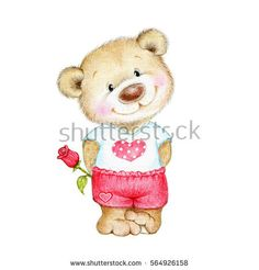 Teddy bear with rose - Buy this stock illustration and explore similar illustrations at Adobe Stock Tatty Teddy, Art D'ours, Teddy Bear Tattoos, Valentines Day Bears, Pig Art, Baby Painting, Bear Illustration, Love Bear, Cute Teddy Bears