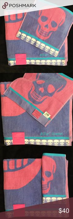 Betsey Johnson FOREVER SKULLS Bath Hand Face Towels 3 Pc Set Black Pink Blue Yel