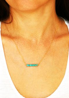 Turquoise necklace, turquoise and gold, gold necklace, bridesmaid necklace - 14 karat gold filled. $25.50, via Etsy.