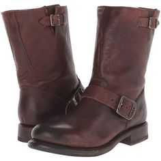 Frye Jenna Engineer Short (Dark Brown Stone Antiqued) Women's Boots found on Polyvore featuring polyvore, women's fashion, shoes, boots, ankle booties, brown, mid-calf boots, short boots, buckle booties and dark brown boots