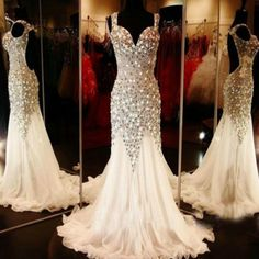Fully Beading Sexy White Mermaid Long Pageant Formal Evening Prom Wedding Dress