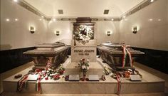 The tombs of Empress Elisabeth and her husband Franz Josef in the capuchin church in Vienna, Austria.