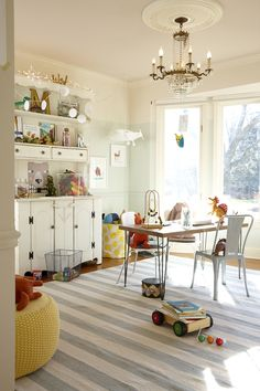 Maybe use a wide-stripe dhurri rug for the playroom instead of one with bright geographic patterns.
