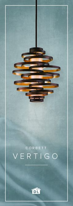 The Vertigo pendant by Corbett Lighting will have you spinning with its elegant spiral design and powerful bronze and gold leaf finish. See it for yourself at Destination Lighting.