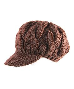 Another great find on #zulily! Brown Cable-Knit Brimmed Beanie #zulilyfinds