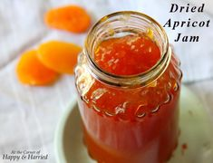 How I Made *Dried Apricot Refrigerator Jam* - Food: Veggie tables Recipe Using Dried Apricots, Dried Apricot Jam Recipe, Apricot Preserves Recipe, Apricot Jam Recipes, Almond Recipes, Fruit Recipes, Yummy Recipes, Ginger Jam, Ginger Chutney