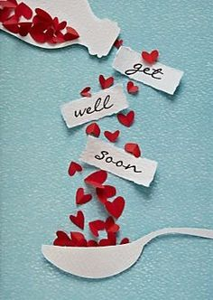 get well soon / bon rétablissement Cute Cards, Diy Cards, Diy Handmade Cards, Handmade Ideas, Greeting Cards Handmade, Tarjetas Diy, Diy And Crafts, Paper Crafts, Card Crafts