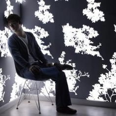 Light emitting wallpaper ! Dimmable and can be programmed to morph.
