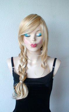 Blonde mixed wig Heat resistant golden blonde wig Long by kekeshop, $89.95