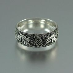 THISTLE silver band size 8.5 Ready to ship by WingedLion on Etsy, $125.00