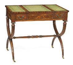 A ROSEWOOD GAMES TABLE, ENGLISH, LATE 19TH CENTURY, the reversible leather inset slide top with a chequer board verso, opening to reveal a parquetry backgammon board, with two drawers to the frieze, raised on x-stretcher supports