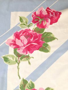 Vintage Tablecloth Linen Pink Roses French