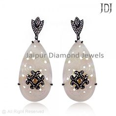 Pave Diamond White Onyx Carving Earrings, Wholesale Rose Cut Earring, Rose Cut Earring - Carved Earrings - #earrings #diamond #carving #onyx #whiteonyx #rosecut #wholesale
