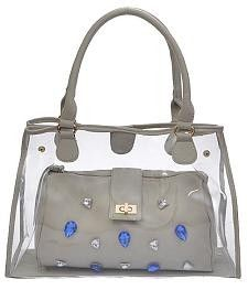 Designer Inspired Clear Tote Handbag with Gems - Grey
