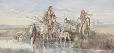Amon Carter Museum of American Art -  Charles M. Russell (1864–1926) Indian Family with Travois, 1897 Watercolor and graphite on paper mounted on board - Fort Worth