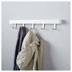 TJUSIG Wall/door rack with knobs, white white 23 ½ Door Wall, Storage Spaces, Ikea, White Magazine Rack, Door Rack, Small Storage, Hanger, Door Hooks, Doors