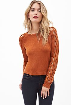 Orange Brown Cut Out Cable Sweater | FOREVER21 - 2000060380 $25