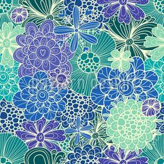 Flowers For Rusalka, Seamless Pattern by Julia Vyazovskaya at patterndesigns.com