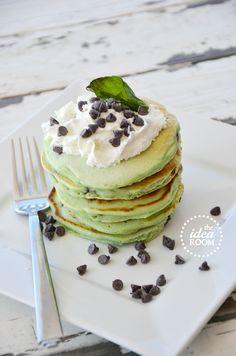 Mint Chocolate Chip Pancakes