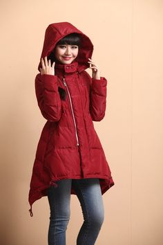 Loose casual medium-length cotton padded coat by on Etsy Cute Winter Coats, Down Winter Coats, Hooded Winter Coat, Down Coat, Coats For Women, Jackets For Women, Clothes For Women, Clothes Encounters, Fall Jackets