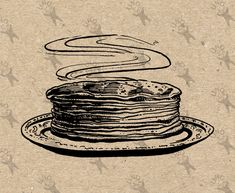 Vintage download image Pancakes Cake Cookery Dessert Instant Download printable clipart digital graphic iron on transfer paper burlap 300dpi by UnoPrint on Etsy #hq #png #bw #Ephemera #diy #old #book #illustration #gravure #inspiration #retro #antique #vintage #300dpi #craft #draw #drawing  #black #white #printable #crafts #transfer #decor #hand #digital #collage #scrapbooking #quality