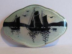 Rare Vintage Aksel Holmsen Silver Scenic Enamel Brooch - Norwegian 925s
