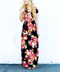So Perla Black & Coral Floral Maxi Dress *love