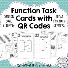 Functions Task Cards with QR Codes! Great for review!Get your students involved with defining, evaluating, and comparing functions. Task cards include comparing functions and their rate of change as a table, equation, graph, and verbal description, linear and non-linear, domain and range, and input and output.