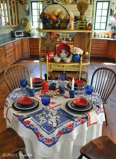 The Little Round Table - red, white and blue