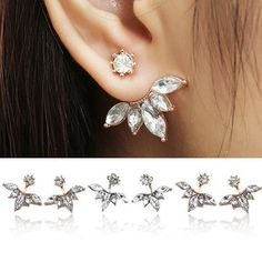 Elegant Silver Gold Plated Zircon Leaf Ear Stud Earrings For Women Only US$5.60  shop Elegant Silver Gold Plated Zircon Leaf Ear Stud Earrings For Women at Banggood.com. Buy fashion Ear Stud online.