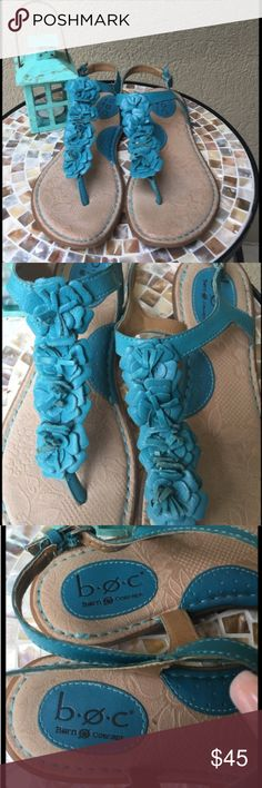 BOC by Born Turquoise leather flower sandals These BOC by Born Turquoise leather sandals embellished with leather flowerettes are sooooo perfect for summer! The sole is cushioned giving your feet the ultimate support & comfort! EUC ✅I ship same or next day ✅Bundle for discount b.o.c. Shoes Sandals