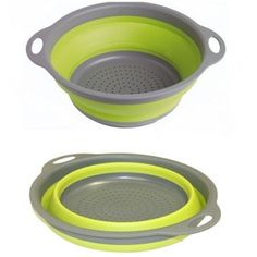 A collapsible colander...  For camping.  I always want to have a strainer when I am camping, but it takes up so much dang space!  So this one breaks down, and is flat!  So now you can bring it! #Camping #Outdoors #Cookwares