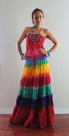 Aww man! If it only had shoulder straps... Tie Dye Dress Boho Hippie Funky Smocked Maxi Dress  by Nuichan, $55.00