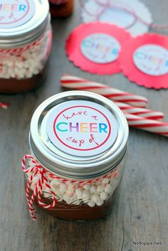 Hot chocolate in a jar with a free printable- fun neighbor gift!  - NoBiggie.net
