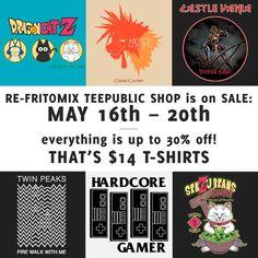 RE-FRITOMIX @teepublic shop is on SALE! Everything is up to 30% off! #castlevania #cowabunga #dragonball #gamer #gamergirl #gamerguy #gaming #gamerlife #goku #finalfantasy #hardcoregamer #may #metroid #ninjaturtles #series #skate #sale #samusaran #supermario #supermariokart #supermariobros #surf #retrovideogames #tshirt #tee #twinpeaks #twinpeaksse #videogames