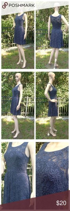 "LC Lauren Conrad Size 0 Lace Tea Dress Sleeveless Lined, Blue/Gray shade, Excellent condition, Armpit to armpit - 15"", Across waist - 12"" (stretches comfortably to 14""), Shoulder to bottom hem - 33"", Polyester, Nylon, Spandex, Hand wash LC Lauren Conrad Dresses Mini"