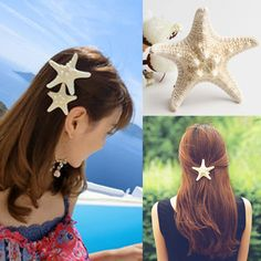 Sunshine fashion natural starfish hair clip hair jewelry Headwear Beige Sea Star Hairpin elegant beauty for women girl #Affiliate