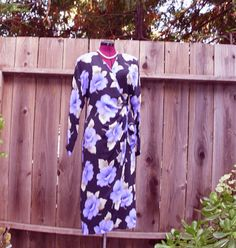 Sale Vintage Floral Crepe de Chine Wrap Dress Noir and by KheGreen