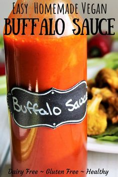 easy vegan buffalo sauce recipe made with just a few simple ingredients that can be whipped up in about a minute! It dairy free and gluten free. It tastes great on vegan buffalo cauliflower and vegan buffalo chicken made with soy curls. Vegan Buffalo Sauce, Buffalo Chicken Sauce, Buffalo Recipe, Vegan Buffalo Cauliflower, Healthy Buffalo Sauce Recipe, Chicken Sauce Recipes, Hot Sauce Recipes, Sauce For Chicken, Vegan Soy Sauce Recipe