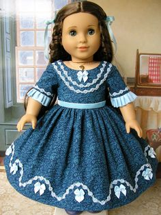 American Girl  mid-1800s gown with rose garlands and bows