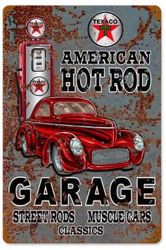 Vintage Hot Rod Texaco Gas Metal Sign 12 x 18 Inches Garage Signs, Garage Art, Car Signs, Vintage Metal Signs, Vintage Walls, Hot Rods, Station Essence, Pompe A Essence, Genius Ideas