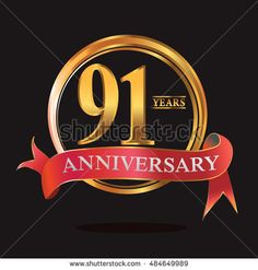 91 years golden anniversary logo with ring and soft red ribbon