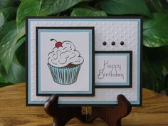 Handmade birthday card with cupcake by gingercreek on Etsy