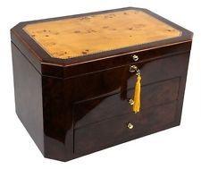The Augusta Hi-Gloss Lacquer Walnut Finish Birdseye Maple Inlay Lid Jewelry Box
