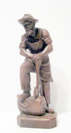 Hand Carved Wood Sculpture Man Cutting Wood Ax Man Siogned Andre 1990-1999
