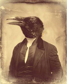 Surreal Crow Art Raven Anthropomorphic Art door WatchfulCrowArts
