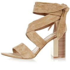River Island Camel suede wrap block mid heel sandals ($84) ❤ liked on Polyvore featuring shoes, sandals, heels, cream, camel shoes, block heel sandals, tie sandals, colorblock sandals and tie shoes