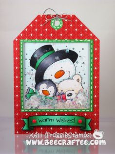 Copic gift tag using the Wild Rose Studio - Snowman Hugs stamp. Made by Kelli